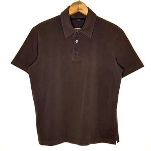 Express Brown Modern Fit Henley Polo Shirt Size M